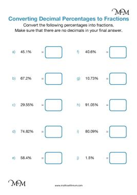 converting decimal percentages to fractions  maths with mum converting percentages to fractions worksheets and answers