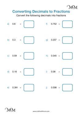 converting decimals to fractions worksheet pdf