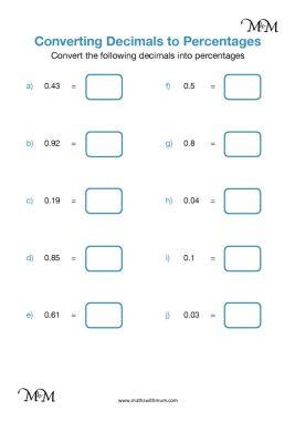 converting decimals to percents worksheet pdf