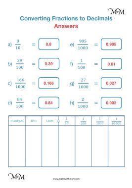 tenths hundredths and thousandths worksheet answers pdf