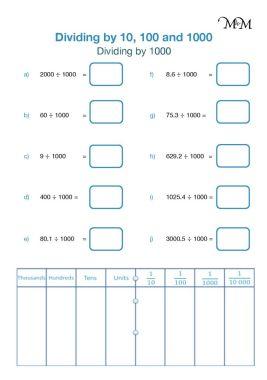 dividing by 1000 worksheet pdf