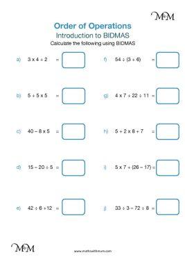 bidmas worksheets pdf