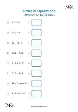 bodmas worksheet pdf
