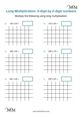 long multiplication of 2 and 3 digit numbers worksheet pdf
