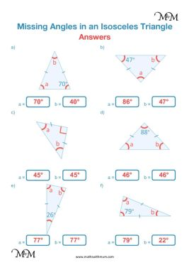 angles in an isosceles triangle worksheet answers pdf