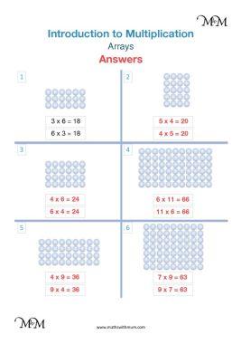 multiplication arrays worksheet answers pdf