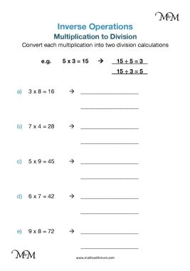 inverse operations multiplication to division worksheet pdf