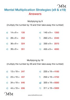multiplication compensation strategy worksheet answers pdf