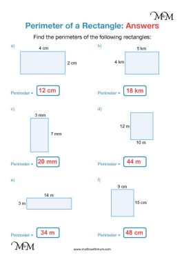 perimeter of a rectangle worksheet answers pdf