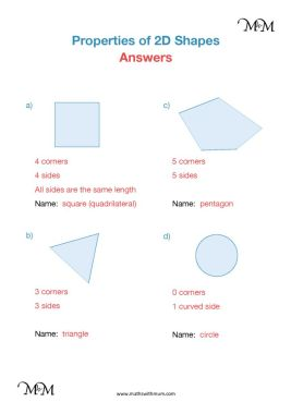 naming 2d shapes worksheet and answers
