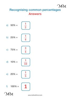 simple percentages as fractions worksheet answers pdf