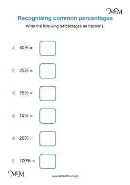 simple percentages as fractions worksheet pdf
