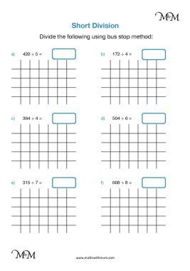 short division without remainders worksheet pdf