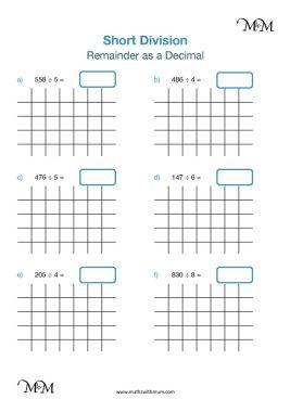 short division with decimal remainders worksheet pdf