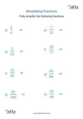 simplifying fractions worksheet pdf
