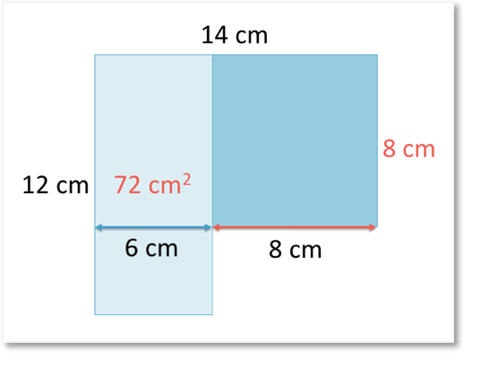 area of a compound shape split into two rectangles