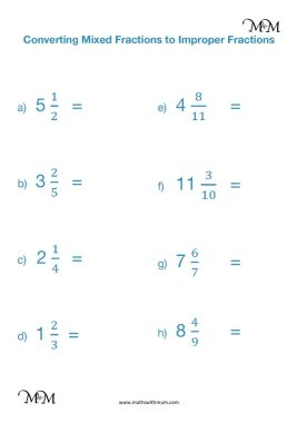 Converting Mixed Numbers to Improper Fractions Worksheet PDF