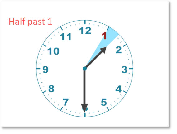 the hour hand on a clock face showing half past one