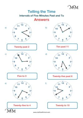 5 minute intervals past and to the hour worksheet answers pdf