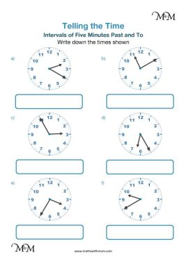 5 minute intervals past and to the hour worksheet pdf
