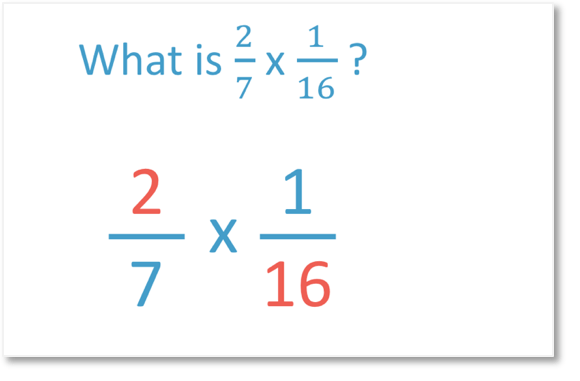 mutliplying fractions two sevenths times one sixteenth looking at common factors