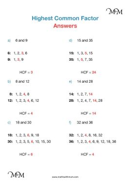 highest common factor worksheet answers pdf