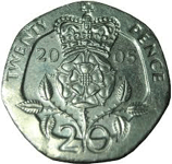 a 20 pence coin in british money