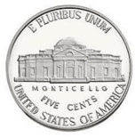 an american five cent nickel coin