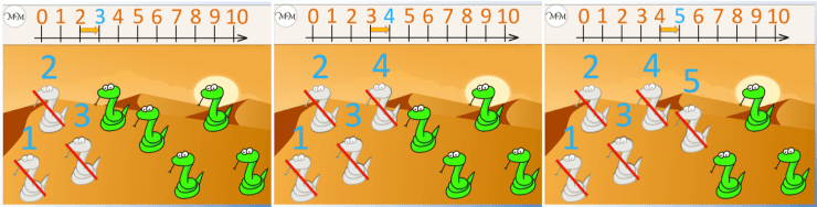 counting snakes on a number line having crossed out 5