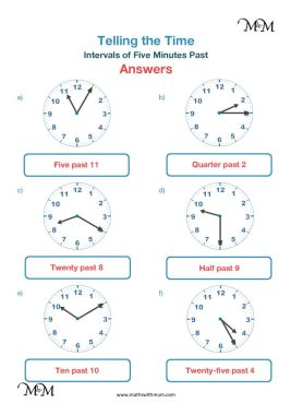 draw hands on clock 5 minute intervals worksheet answers pdf