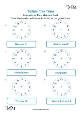 draw hands on clock 5 minute intervals worksheet pdf
