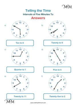 drawing hands on the clock 5 minute intervals to the hour worksheet answers pdf