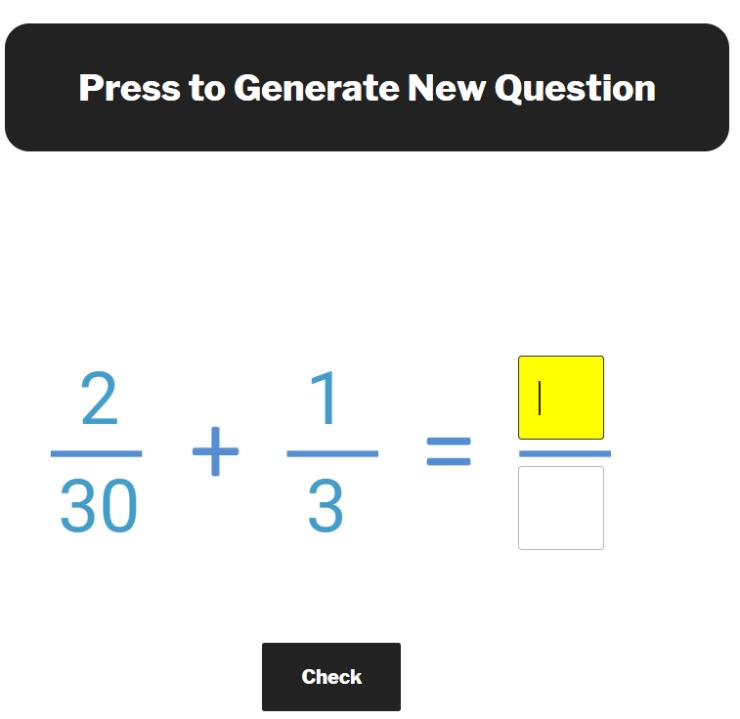 adding unlike fractions question generator