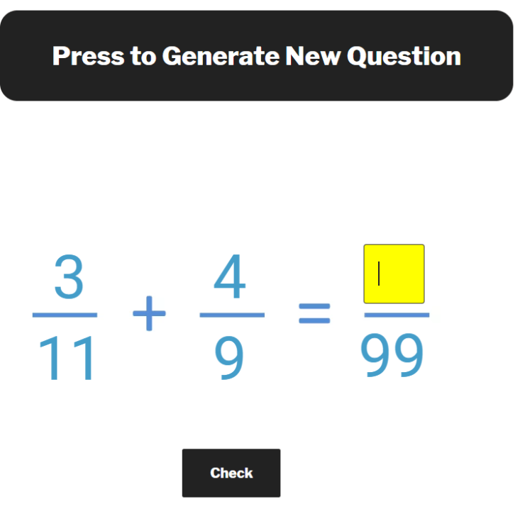 adding fractions with unlike denominators changing both fractions question generator
