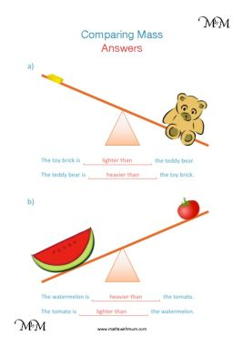 Year 1 comparing weights heavy light worksheet pdf