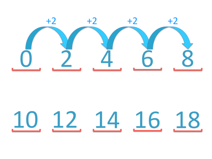 adding in twos to skip count up to 18