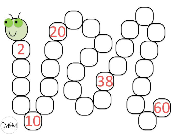 blank skip counting by 2 caterpillar