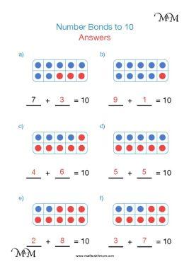 number bonds to 10 tens frame worksheet answers pdf