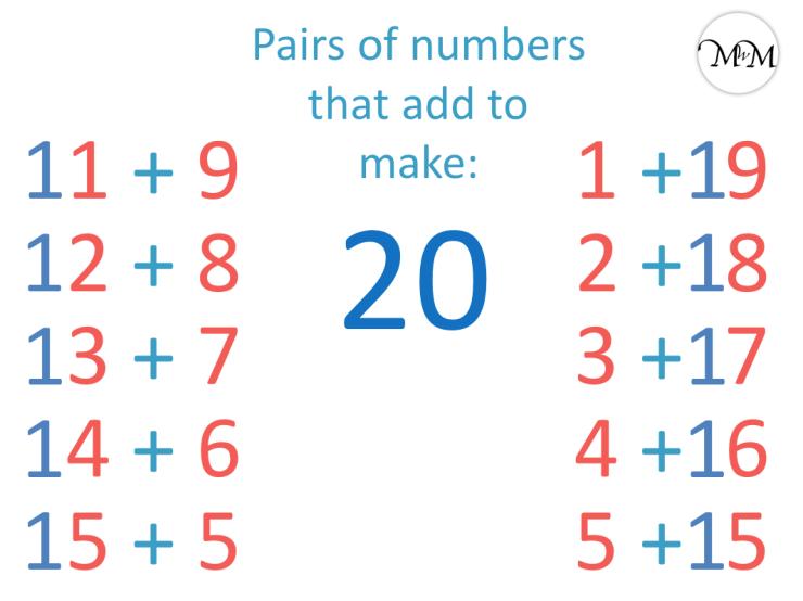 number bonds to 20 list