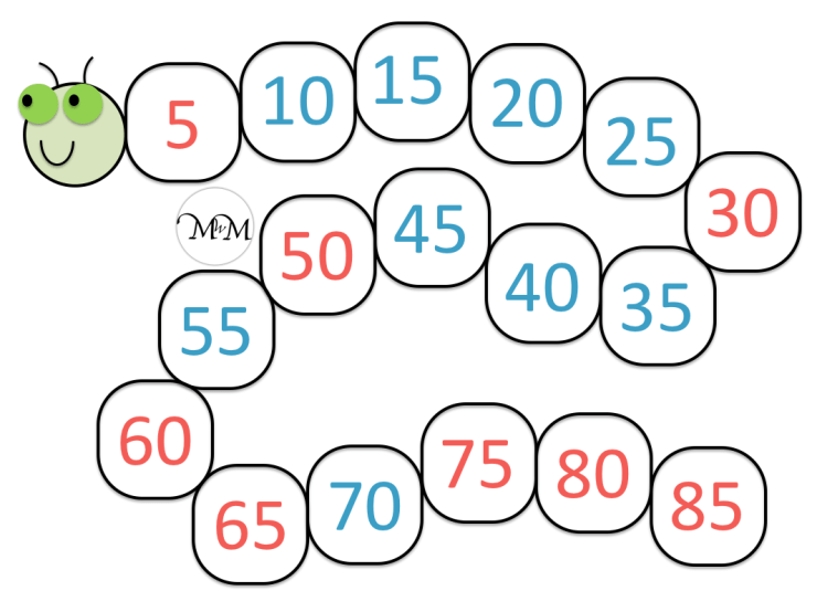 completed solutions to the skip counting backwards in fives caterpillar worksheet