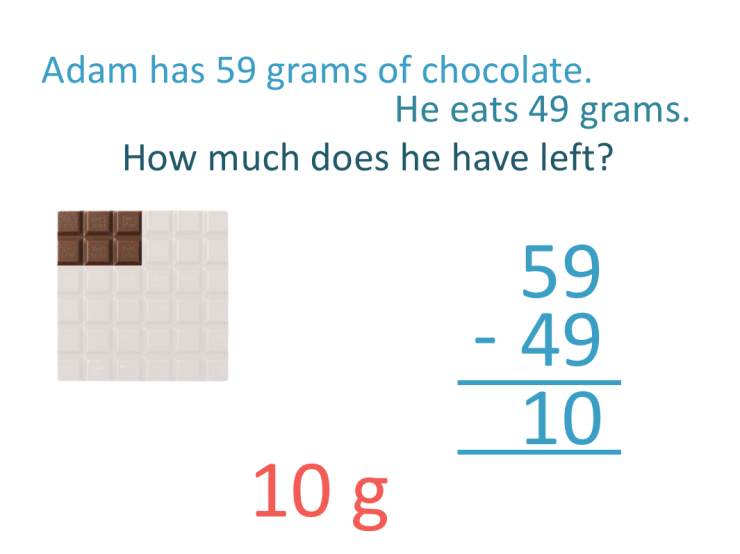 solving a subtraction word problem with mass units