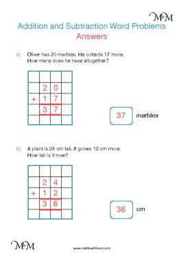 simple addition word problems worksheet answers pdf