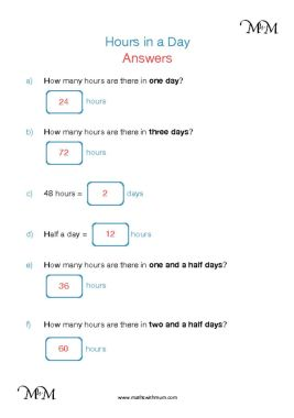 converting the number of hours in a day worksheet answers pdf
