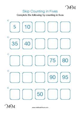 skip counting by 5 worksheet pdf