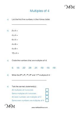 Multiples of 4 worksheet pdf