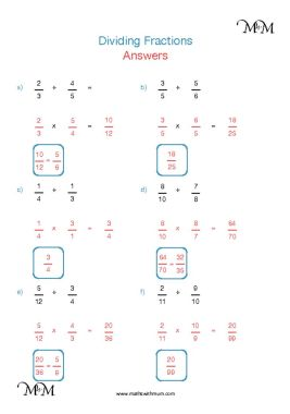 Dividing Fractions worksheet answers pdf