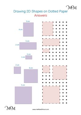 drawing 2d shapes on dotted paper worksheet answers pdf