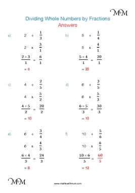 dividing whole numbers by fractions worksheet answers pdf