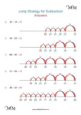 jump strategy addition worksheet answers pdf