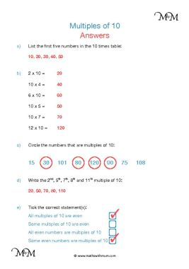 Multiples of 10 worksheet answers pdf